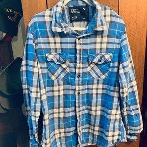 Long Sleeve Blue, Gray & Spring Green Plaid Shirt